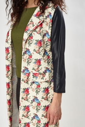 Quilted Floral Faux Leather Sleeve Jacket