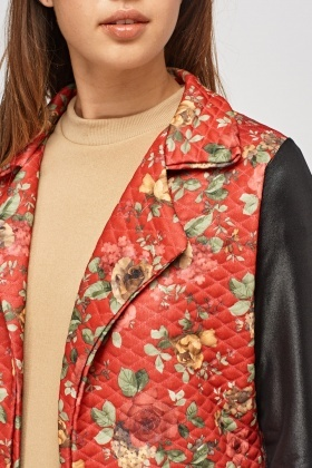 Quilted Print Faux Leather Sleeve Jacket