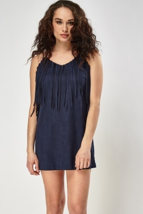 Suedette Fringed Dress
