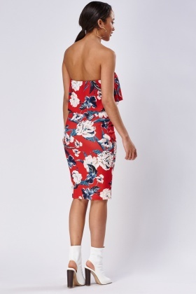 Bandeau Printed Midi Dress