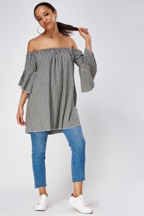Checked Off Shoulder Flare Sleeve Top
