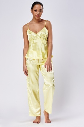 Yellow Silky 3 Piece Pyjama Set