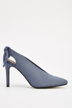 Bow Back Suedette Heels