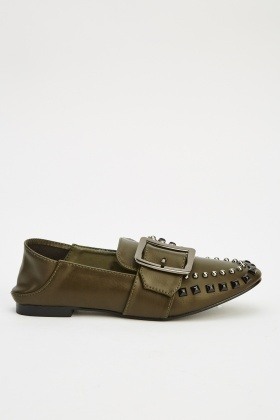 Buckled Studded Loafers