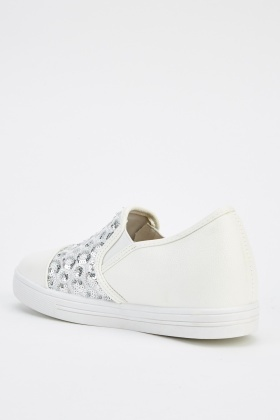 Contrast Faux Leather Plimsolls