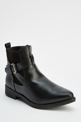Crossed Buckle Ankle Boots