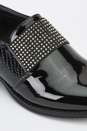 Encrusted Front PVC Slip On Shoes