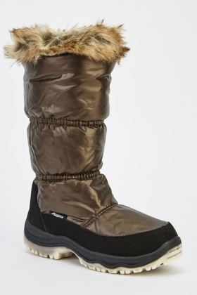 Faux Fur Trim Ruched Boots