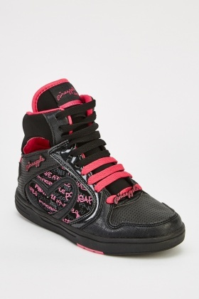 High Top Contrast Printed Trainers