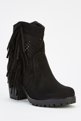 Laser Cut Suedette Fringed Boots