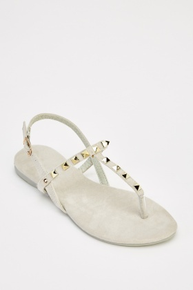 Studded Suedette Sandals