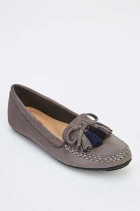 Tassel Front Suedette Loafers