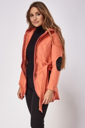 Faux Leather Contrast Textured Jacket