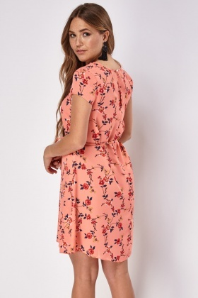 Floral Tie Up Swing Dress