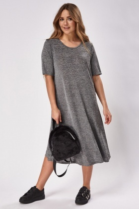 Midi Speckled Grey Skater Dress