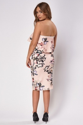 Peach Overlay Floral Bandeau Dress