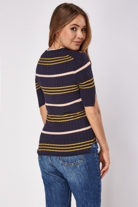 Ribbed Multi Striped Top