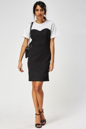 Petite Contrast Textured T-Shirt Dress