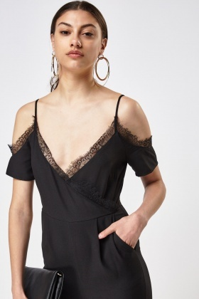 Petite Lace Trim Cold Shoulder Jumpsuit