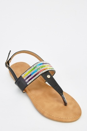 Embellished Strap Faux Leather Flip Flop Sandals