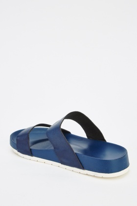 Faux Leather Strappy Sliders