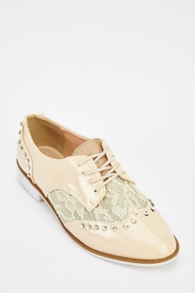 Lace Insert Diamante Studded Brogue Shoes