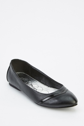PVC Detailed Faux Leather Ballet Pumps