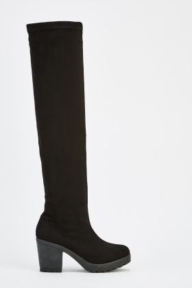 Suedette Knee High Heeled Boots