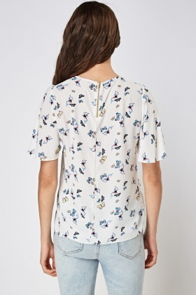 Flare Sleeve Printed Sheer Top