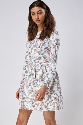 Long Sleeve Printed Skater Dress