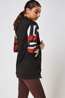 Printed Sleeve Contrast Jacket