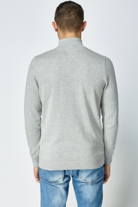 Ribbed Zip Neck Sweater