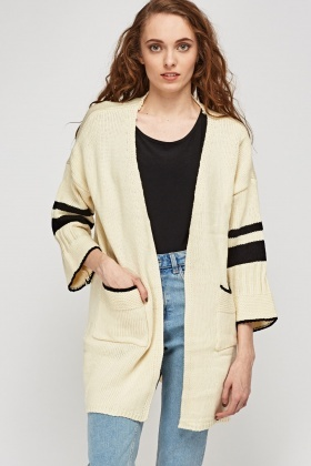 Chunky Knit Striped Sleeve Cardigan