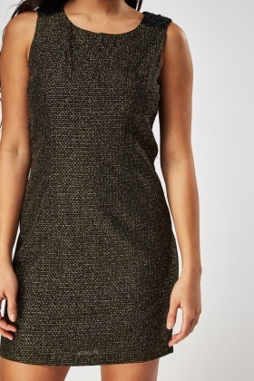 Crochet Insert Metallic Shift Dress