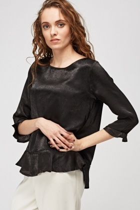 Flared Trim Sateen Blouse