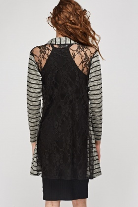 Lace Back Contrast Striped Cardigan