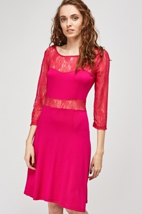 Lace Insert Sweetheart Midi Dress