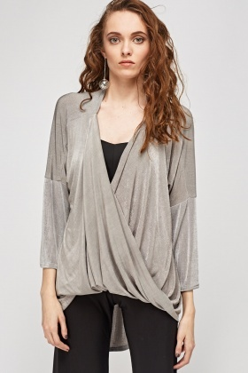 Plunge Wrapped Front Metallic Top