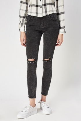 Studded Ripped Knee Jeans
