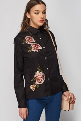Embroidered Flower Shirt