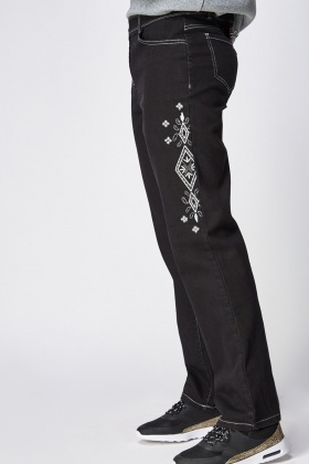 Embroidered Trim Black Jeggings