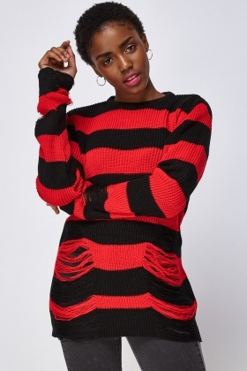 Striped Distressed Knitted Jumper
