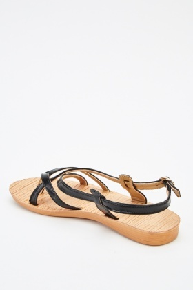 Crossed Faux Leather Strappy Sandals