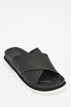 Crossed Strap Slip On Shoes