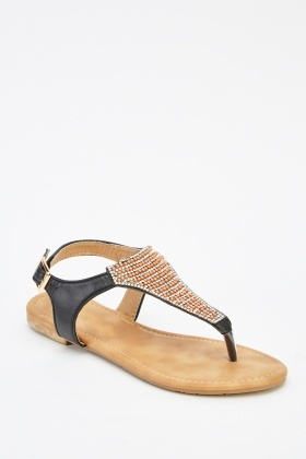 Encrusted Front Faux Leather Flip Flop Sandals