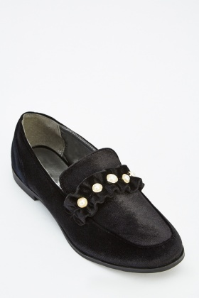 Faux Pearl Detail Loafers