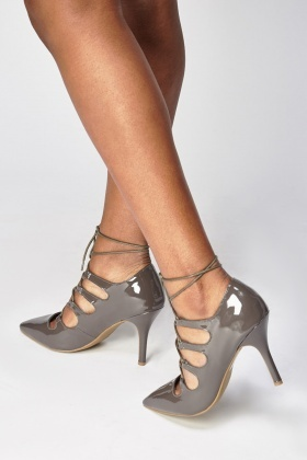 Lace Up PVC Court Heels