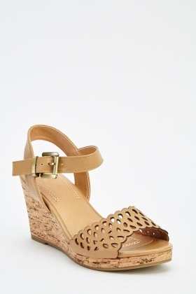 Laser Cut Faux Leather Wedged Sandals