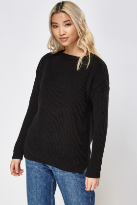 Boat Neck Knitted Jumper