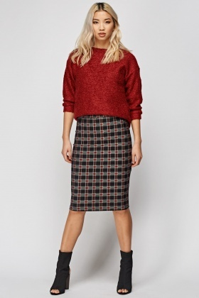 Tartan Plaid Midi Skirt
